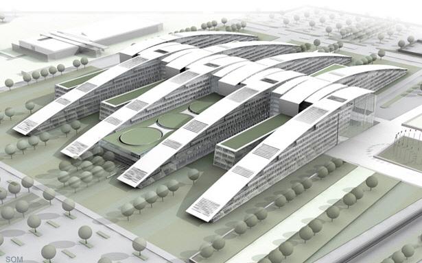 Vue d 39 ensemble du projet d 39 architecture nouveau si ge de for Projet d architecture